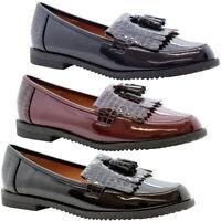 New Women Flats Loafers Croc Patent Tassel Office Pumps Ladies School Shoes Size