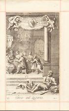 1690 Biblical Copper Etching- DIVES and LAZARUS - BLOME-ORIGINAL Rare