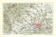"""historische Landkarte, map """"Umgebung von Frankfurt"""" farbige Lithografie von 1897"""