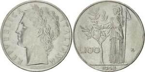 REPUBBLICA ITALIANA - RARA MONETA DA 100 LIRE - 1958