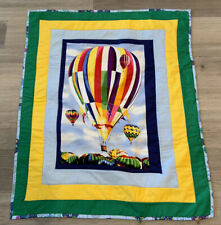 New ListingPatchwork Crib Quilt, Rectangle Borders, Hot Air Balloon Print, Multi Color