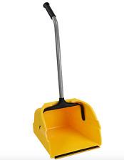 Jumbo Yellow Dust Pan Dustpan Cleaning Spills Debris Long Swivel Handle Upright