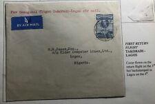 1939 Takoradi Gold Coast First Flight Airmail Cover FFC To Lagos Nigeria