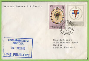 Falkland Is. Dep. 1983 H.M. Forces S. Atlantic, HMS Penelope ship cachet