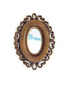 "Vintage Pretty Ornate Small Faux Wood Mirror 9-1/2""H X 7""W Wall Decor"