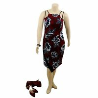 CITY CHIC Burgundy Double Strap Floral Midi Party Dress | Plus Size: S (16)