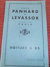 NOTICE D'ENTRETIEN PANHARD 6 DS ( ref 46 )