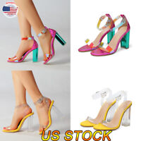 Women Fashion High Heel Ankle Sandals Shoes Thong Wedge Buckle Size Peeps Toe US