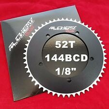 """MOJO Alchemy Fixed Gear 52T Chainring 7075-T6 * 144 mm BCD Track 1/8"""" - BLACK"""