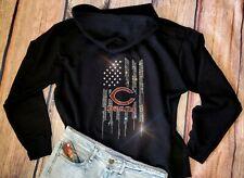 New Women's Rhinestone Chicago Bears Zip Up Jacket Hoodie  sz XL all sizes