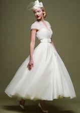 Vintage Tea Length Bridal Gowns 2019 V-Neck Buttoned Wedding Dress Cap Sleeves