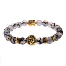 Men Women Black Lava Natural Stone Beads Gold Lion Buddha Beaded Charm Bracelets