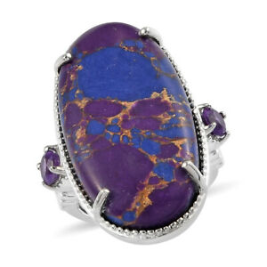 Platinum Over Purple Turquoise Amethyst Statement Ring Jewelry Size 8 Ct 17.6