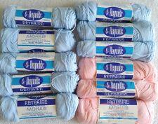 11 Skeins Vintage Reynolds Reynaire Orlon Plus 20% Mohair Yarn BABY BLUE & PINK