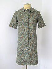 VGC Vtg 60s 70s Mod Blue Gold Paisley Cotton Twill Shirt Dress S
