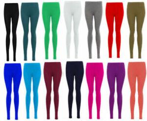 Womens PLAIN COTTON FULL LENGTH LEGGINGS BLACK +COLOURS