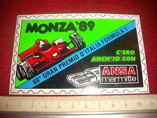1989 - RARO ADESIVO 60MO GRAN PREMIO ITALIA FORMULA 1 MONZA VINTAGE DECALS