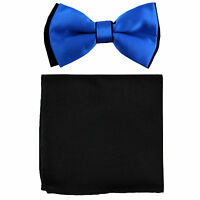 New Men's Two Layer Tones Pre-tied Bow Tie and Hankie Set ROYAL BLUE& Black
