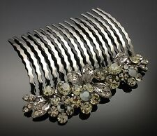 Flower Blossom Wedding Black Diamante Crystal Hair Comb Clip 8cm Rhinestone