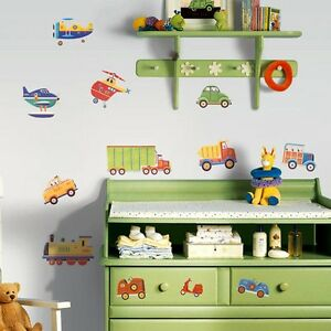 Cars Trucks Trains Planes Helicopter Wall Decals 26 New Transportation Stickers