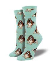 Socksmith Womens Girls Green Bassett Hound Dogs Dog Ladies Socks Gift LilyRosa