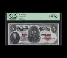 1907 $5 LEGAL TENDER WOODCHOPPER GEM UNC 65PPQ SERIAL NUMBER 111