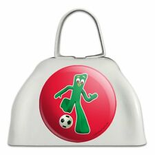 Sporty Gumby Soccer Ball Player Clay Art White Metal Cowbell Cow Bell Instrument