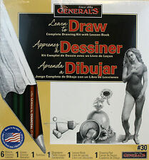 General's Complete Drawing Kit w/Lesson Book Pencils Paper Eraser Tortillion...
