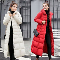 Women's Long Quilted Hooded Down Warm Jacket Winter Puffer Fur Collar Parka Coat
