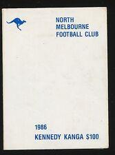 1986 North Melbourne Membership UNUSED Kennedy Kanga $100 season Ticket Roos