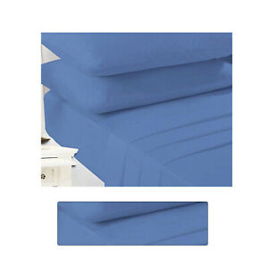 """Non Iron Percale Extra Deep 16""""/40CM Polycotton Mid Blue FittedSheetDouble Bed"""