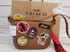 NWT Disney X Coach F59373 Patricia Saddle 23 Glove Calf Leather Mickey Patches