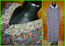 LAURA ASHLEY Vtg 1980 80s Floral Wool Lace Collar Country Boho DRESS UK 18 US 14