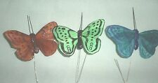 """2.5"""" Wide.x1.75"""" Tall Green,Brown &Teal Feather Butterflies -1 of each color"""