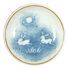 "SET of 2 Japanese 3.75""D Sushi Soy Sauce Wasabi Dipping Dish Plates Moon Rabbit"