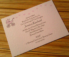 50 PERSONALISED CHRISTENING INVITATIONS PRAM & HEARTS  PINK BLUE LILAC