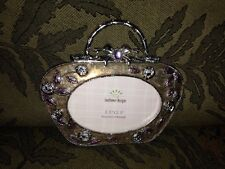 """Brown/Gold Enameled Jeweled Purse 3.5"""" x 2.5"""" Frame By Sunflower Designs"""