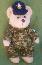 AUSSIE RAAF TEDDY BEAR 30CM - CUTE BEAR IN NEW DPCU CAMO UNIFORM