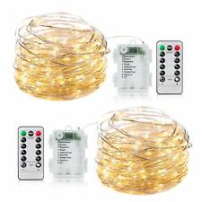 50-100 LEDs Battery Operated Mini LED Copper Wire String Fairy Lights + Remote