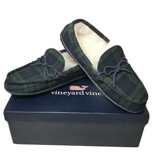 NWT Vineyard Vines Blackwatch Holiday Shearling Lined Plaid Slippers 9M $98.50