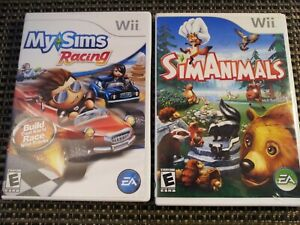 My Sims Racing & Sim Animals (Nintendo Wii Video Game Lot) -Complete-