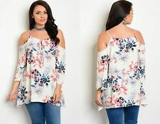 WOMENS LADIES FLORAL CHIFFON CUT OUT SHOULDER PARTY BLOUSE TOP PLUS SIZE 18-22