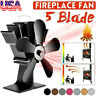 1500RPM Silent 5 Blade Stove Fan Fireplace Fire Heat Powered Saving Ecofan USA