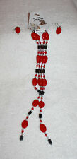 """Magnetic Convertible Necklace / Bracelet Set 17""""L with Earrings Red w Silver"""