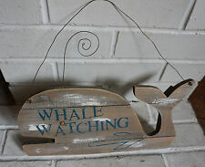 Whale Watching Arrow Beach Home Decor Sign Rustic Reclaimed Weathered Wood