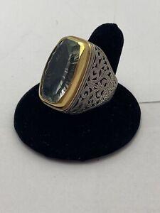Konstantino Massive Green Amethyst Sterling Silver 18k Filigree Statement Ring