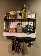 Handmade Wood Rustic, Primitive, Spoon holder Shelf-Weathered Antique White