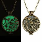 New Magical Locket Round Bronze Flower Glow In The Dark Charm Pendant Necklace