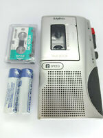 Sanyo TRC-530M MicroCassette Voice Recorder Handheld Dictaphone Dictation Silver