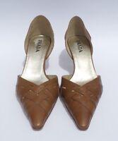 PRADA Walnut Brown Woven Leather Elongated Point Toe d'Orsay Wood Heel Pumps 36